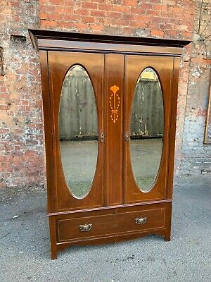 Large Antique Edwardian Inlaid Mahogany Wardrobe - Double Mirrored Door Wardrobe