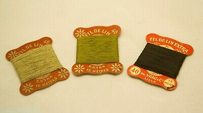 Vintage FIL DE LIN 40 Linen Thread x 3 Military Colours Khaki & Black Exc Cond