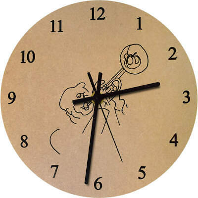 275mm 'Trumpet Player' Large Wooden Clock (CK00026699)