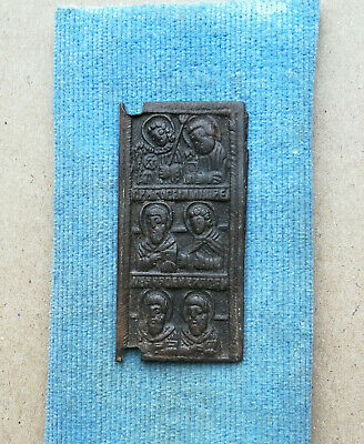 Medieval Bronze Icon With Saint - Rare Historic Religious Artifact Stunning