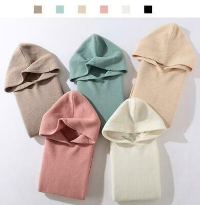 Women 100% Cashmere Wool Hooded Sweater Knitwear Hoody Loose Thick Warm Pullover