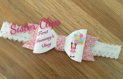 Baby Girls cute my 1st first mummy's mother's day bow Soft Elastic headband