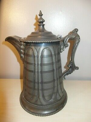 19th Century Art Nouveau Rogers Smith & Co. Pewter, Silver Water Pitcher