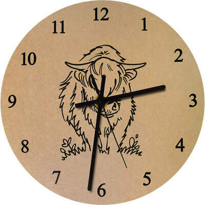 275mm 'Highland Cow' Large Wooden Clock (CK00028609)