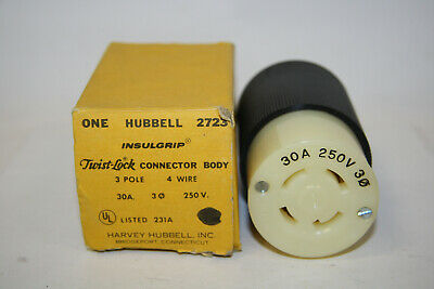Hubbell HBL2723 Twist Lock Insulgrip Connector Body 30A 250V 3 Pole 4 Wire New
