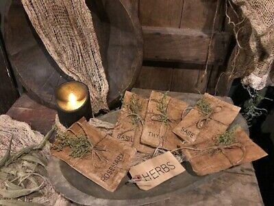 Primitive Spring Garden Seed Packs Bowl Fillers Homestead Cupboard Tuck HERBS