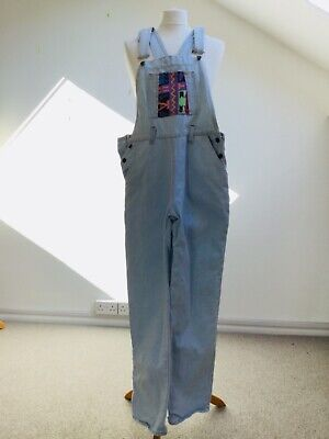 Vintage 80s dungarees denim and patches/ patchwork small washed out