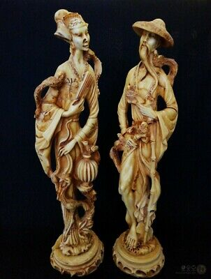 "VTG Male & Female Oriental Asian Resin Figures 19"" Tall 