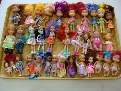 Assorted Doll Lot Of 34 Miscellaneous Small Dolls Mattel & Other Brands Vguc