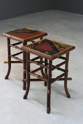 Pair Victorian Bamboo Side Occasaional End Bedside Tables