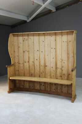 Large Rustic Pine Tavern Settle Bench Kitchen Hall Pub