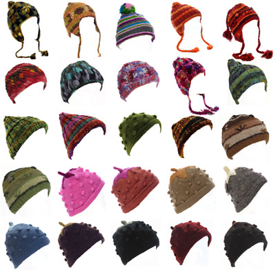 Woollen Winter Hat - 25 Designs - Fleece Lined Ladies Mens Kids Woolly Beanie