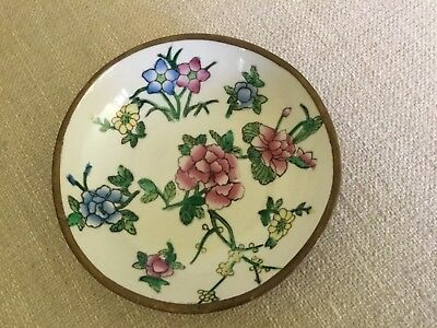Vintage Chinese small hand painted porcelain bowl/plaque encased in brass
