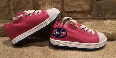 HEELYS Size 11 Girls Pink X2 Wheeled Shoes In Great Condition