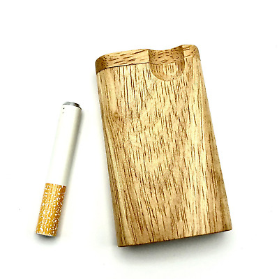 Dugout One Hitter Stash Box Wood Mini Wooden GrassFire Metal Pipe FREE Shipping