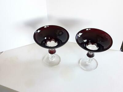 2 pcs. Art Deco Champagne Bohemian Czech Ruby Red Cut to Clear Crystal Glass