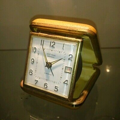 Vintage ESTYMA 8 day 2 Jewel Travel Alarm Clock - Made in France,  desk clock