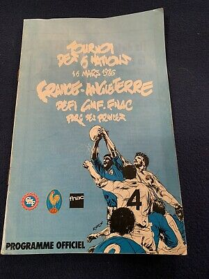 FRANCE v ENGLAND 15 March 1986 at Paris RUGBY PROGRAMME