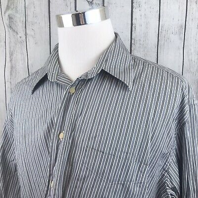 Canali Mens White Blue Black Striped Long Sleeve Button Shirt Italy Size XXL