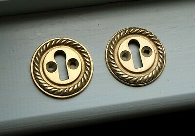 "Pair of cast brass decorative rope edge door keyhole escutcheons 1 5/8"" [RP3]"