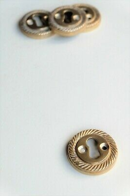 "Heavy cast brass decorative rope edge door keyhole escutcheon 1 1/2"" [RP5]"