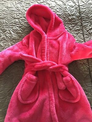 Girls George Pink Fluffy Dressing Gown, Age 2-3 Years