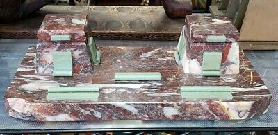 1920's French Art Deco Red/White Marble Double Inkwell Desk Caddy