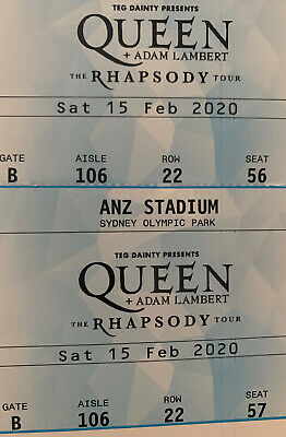 QUEEN & ADAM LAMBERT -    Feb 15th 2 premium fan tickets GATE B Aisle 106 row 22