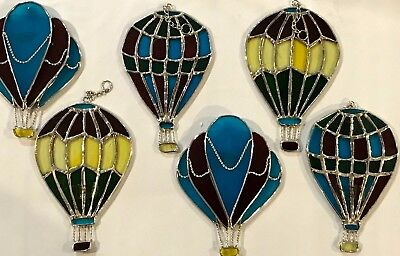 6-Piece Set Stained Glass 6  inch Hot Air Balloons  Sun Catchers  [9046-6]