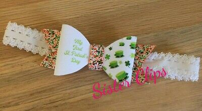 Baby Girls cute my 1st first st Patrick's day bow Soft Elastic headband Ireland