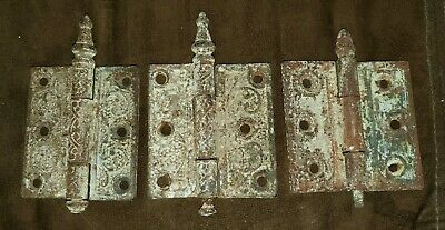 Antique Victorian Cast  Steeple Hinges ~ Vintage Condition ~ [Parts And Pieces]