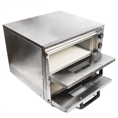 Commercial 3KW Pizza Oven Double Deck Bake Oven Ceramic Stone Pizza Cake Maker