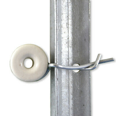 Daken x 100 Electric Fence Porcelain Reel  Insulators PLUS 100x Easy Fit Clips