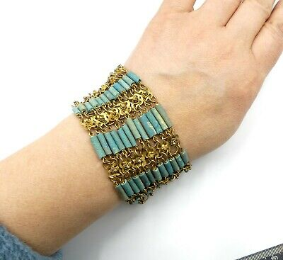 Vintage Egyptian revival brass and faience blue bead wide bracelet 7' ¼ L