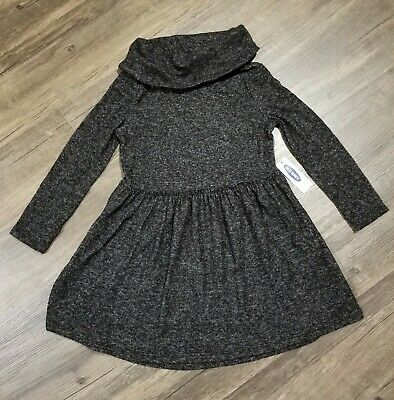 Old Navy Girls Size 4T Black/Gray Long Sleeve Soft Knit Cowl Neck Dress NWT