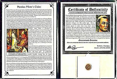 Pontius Pilate Coin with Album and Certificate,Judean Bronze Prutah,Rare
