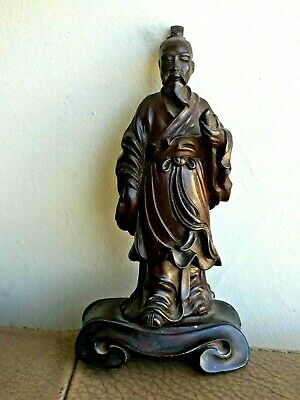 Antique Chinese Hand Carved Wood Statue Figurine Buddha