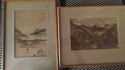 "2 x Bark Seaweed Painting aboriginal old antique  signed ""ODEG"" Bargain Perth"