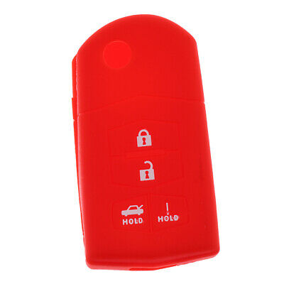 4-Buttons Car Keyless Entry Remote Smart Key Case Cover For Mazda Red