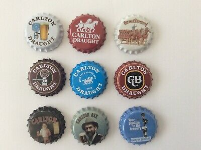 9 Carlton Beer Classic Collectable Bottle Tops/ Fridge Magnets