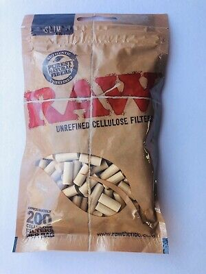 200 Raw slim unrefined filter tips furest natural fibers  200 per bag