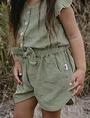Girls Khaki Green Playsuit/Jumpsuit with Bow Ages 12M 2 3 4 5 Years UK