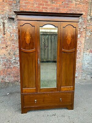 Large Inlaid Mahogany Antique Edwardian Wardrobe - Mirrored-Door Double Wardrobe