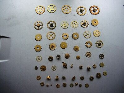 50+ Job Lot of Vintage CLOCK Watch Parts Gears ART Steampunk Repair RESTORE c3a