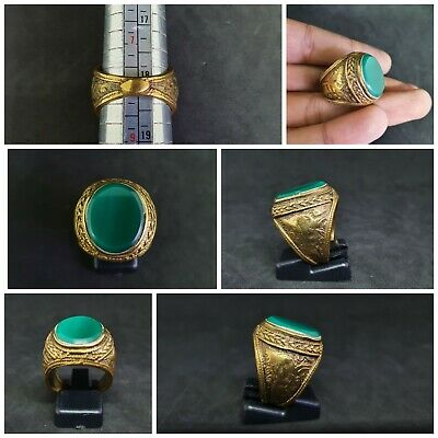 Beautiful Gold Gilded Old Ring With Stunning Green Agate stone #