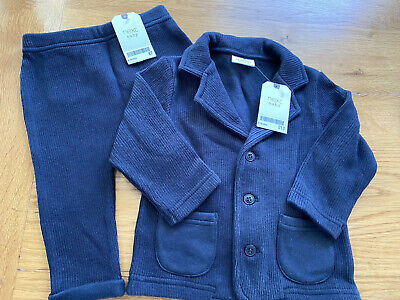 Next Boys Knitted Jacket And Trousers Age 6-9 Months Navy BNWT