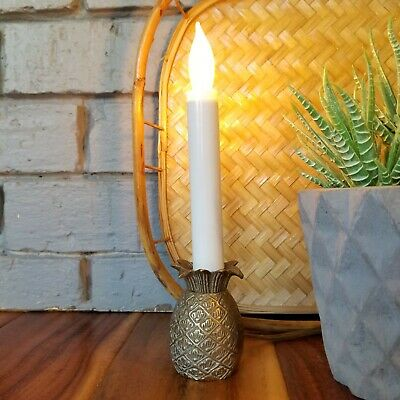 SET OF FOUR BRASS PINEAPPLE ELECTRIC WINDOW CANDLESTICK LAMPS