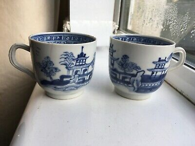 Antique Pair of Chinese Hand Painted Blue & White Tea Cups Signed Inside Cup