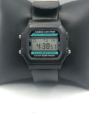 Casio 3298 Unisex Black Leather Digital Black Dial Quartz Genuine Watch XX116