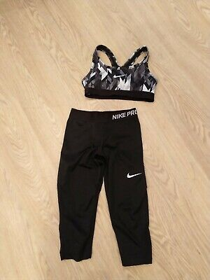 Girls Junior Nike Pro Capri Leggings And Classic Bra Top